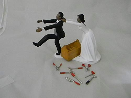 Wedding Africian American Shop Garage Mechanic Cake Topper (Wedding Cake African American Topper)