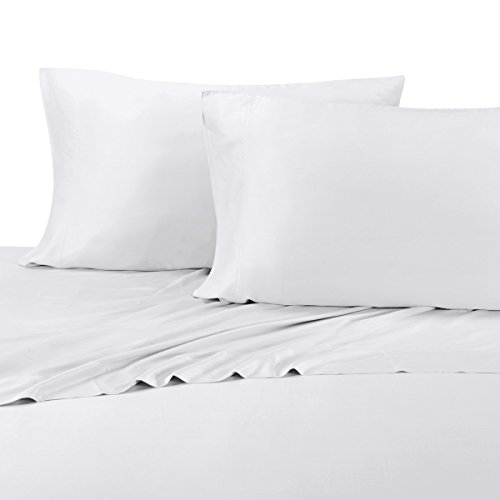 Royal Tradition 100 Percent Bamboo Bed Sheet Set, California King, Solid White, Super Soft and Cool Bamboo Viscose 4PC Sheets (Cool Bamboo)