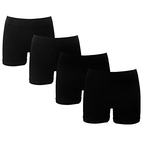 (J&Q Copper Infused Men's Seamless Underwear Bamboo Fiber Boxer Briefs 4 Pack (Black) L/XL)