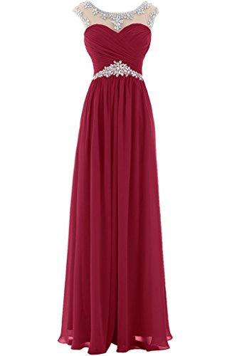 fa52250fffaa Gorgeous Bride Elegant Lang Aermellos A-Linie Chiffon Kristall Tuell  Abendkleider Festkleider Ballkleider Weinrot Hf6Tgr