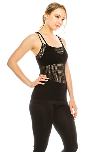 Basic Seamless Long Camisole Tanktop by Shycloset - Soft Stretch Long Spaghetti Strap One Size Made in USA (Cami Net - Black)