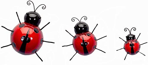 Melrose Metal Wall Art Decor Sculptures Tree Fence Climbers Indoor Outdoor Set of 3 Ladybugs