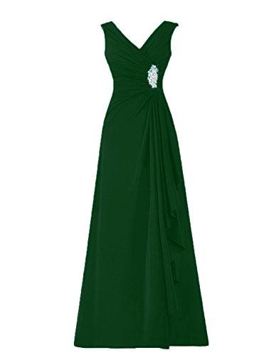 las la de HUINI oscuro Vestidos de Gasa mujeres Vestidos la Paseo madre Sin en De V mangas Cuello Verde Rosario novia Formal F5q5BPwOx