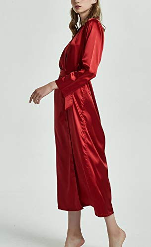 manica Vineux wedding donna bagno rosse Satin elegante da da abito camicie accappatoi lunga Aivtalk 1fnOWaq