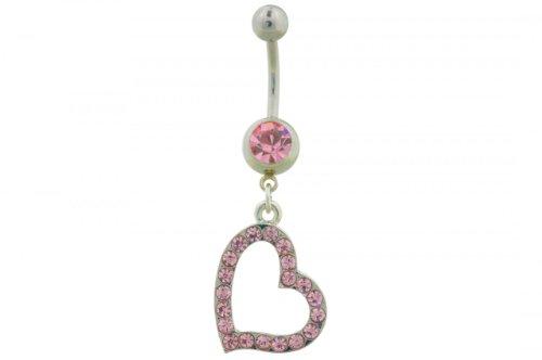 Wehi Lani Heart Dangle Belly Button Ring (WL101) (Wehi Lani Pink Heart Dangle Belly Button Ring (WL101Pi))