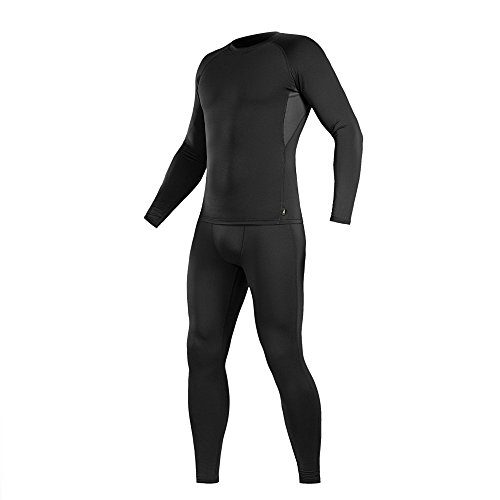 M-Tac Thermal Underwear Set for Men Base Layer Fleece Lined Top & Bottom Ultra-Soft (Black, M) Cold Weather Polypropylene Underwear Top