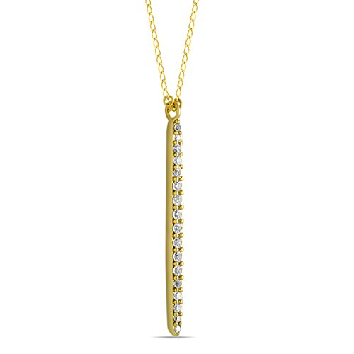 Rectangular Shaped Pendant (925 Sterling Silver Drop Bar Pendant, Vertical Bar Necklace CZ Layering Necklace Long Bar Necklace Dainty Bar Necklace, 14K Gold Plated Minimalist Necklace Drop Necklace 16inch Chain + 2