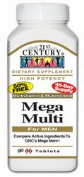 21st Century Mega Multi For Men Multivitamin Multimineral 90 - Century Vitamins 21st Tablet