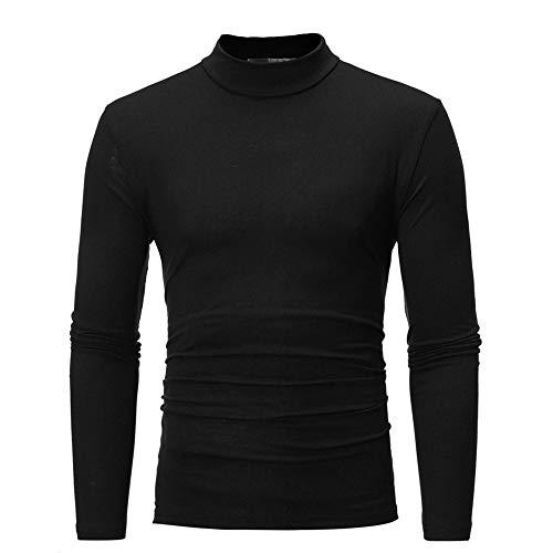 Fit shirt T Slim Deelin Roulé Tops Automne Couleur À Sauvage Homme Col Manches Noir Mode Longues Pure Printemps Élastique wZqwz8xHa