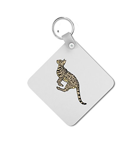 Bengal Cat Double-sided Square Metal Key Chain