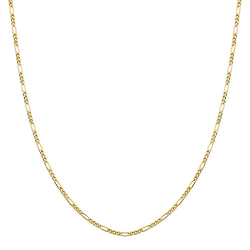 LOVEBLING 10K Yellow Gold 2mm Figaro Chain Necklace (20 inch)