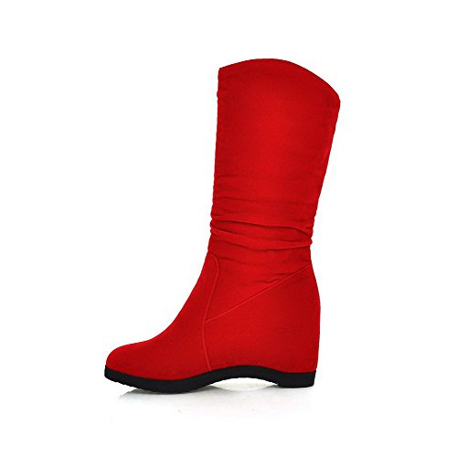 AllhqFashion Womens Mid Top Pull On Frosted High Heels Round Closed Toe Boots Red Y30ebxrzp