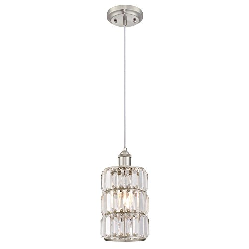 Crystal Brushed Nickel (Westinghouse 6338900 Sophie One-Light Indoor Mini Pendant, Brushed Nickel Finish with Crystal Prism Glass)