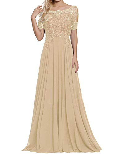 - Formal Evening Dress A Line Chiffon Wedding Guest Prom Dresses Gown Champagne US22W