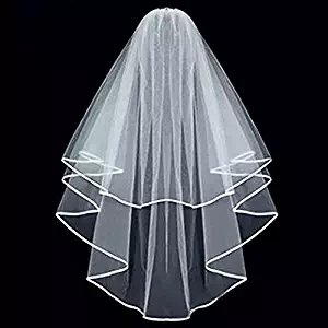Ok Womens Cheap White Ivory Bridal Veils Two Layer Ribbon Edge Wedding Veil with Comb