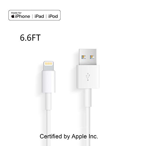 Apple iPhone/iPad Charging/Charger Cord Lightning to USB Cable[Apple MFi Certified] Compatible iPhone X/8/7/6s/6/plus/5s/5c/SE,iPad Pro/Air/Mini,iPod Touch(White/6.6FT) Original Certified (Touch Ipad Air 2 Original)