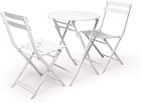 QQXX Mesa y Silla de jardín Plegables, Muebles de jardín Bistro de Patio Exterior de Metal, Juego de Mesa y 2 sillas (Color: Blanco): Amazon.es: Hogar