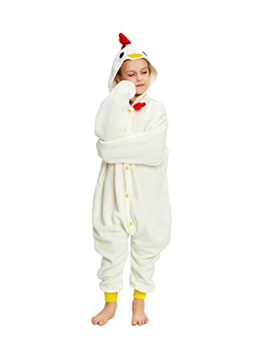 NEWCOSPLAY Unisex Children Animal Pajamas Halloween Costume (125#, White Chicken)
