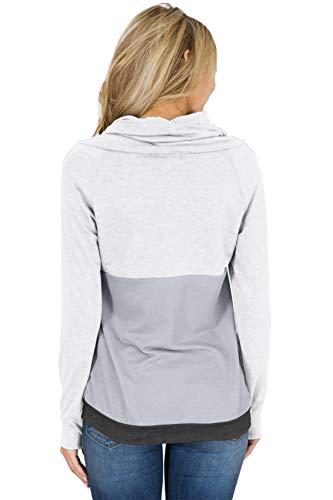 Gris Roulé Block Tee Cravate Sweat shirt Blanc À Longues Pull Col Manches Contraste Color Top Shirt T q7n0taw