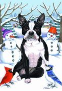 Boston Terrier - by Tomoyo Pitcher, Winter Themed Dog Breed Flags 12 x 18