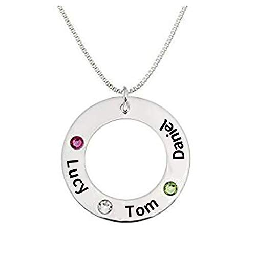 Friendship and Family Custom Engraving Name Round Washer Personalized Pendant Necklace Engraved with Selected Swarovski Birthstones in 18K Gold Sterling Silver, Gift for Mother,Girlfriend(Box Chain)