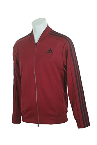 adidas Men's Sport ID Track Bomber Jacket Collegiate Burgundy X-Large - Exclusive Stand Collar Jacket