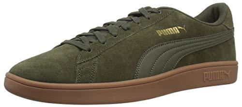 PUMA Men's Smash v2 Sneaker, Forest Night, 12 M US - Leather Green Stripe Sneakers