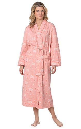 PajamaGram Women's Robes Soft Cotton - Bathrobes for Women, Peach, XS/SM, 2-8