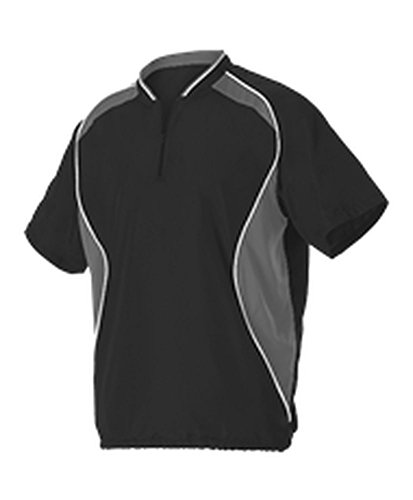 Alleson Adult Short Sleeve Baseball Batters Jacket Black, Charcoal, White 2 X 3JSS13A 3JSS13A-BKCHWH-2X ()