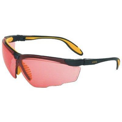 Uvex S3530X Genesis X2 Safety Eyewear, Black and Yellow Frame, SCT-Vermillion UV (Glasses Vermillion Lens)