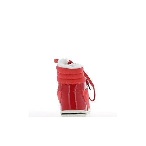 Baskets femme montantes rouges bi matière avec crochets