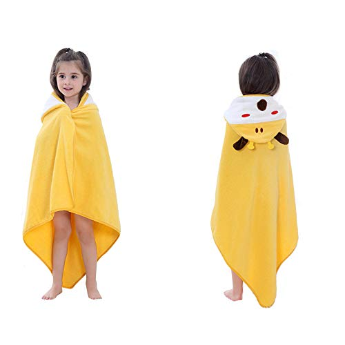 DURUI Hooded Animal Towel 0 to 5 Years Old Kids and Toddlers Cotton Ultra Soft, Super Absorbent, Use for Bath/Pool/Beach Times 90X90CM (Yellow Giraffe)