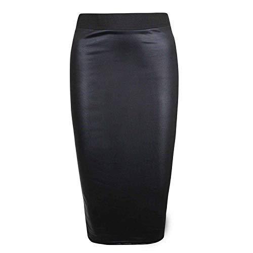 Womens Ladies Black PVC Wetlook Leather Look elasticated waist tube mini skirt