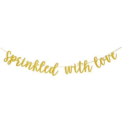 - Glamoncha Sprinkled With Love Gold Glitter Banner Sign Garland for Baby Sprinkle,Baby Shower Decorations