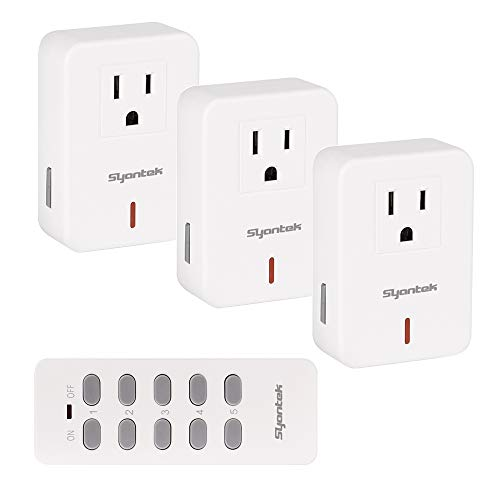 Syantek Remote Control Outlet Wireless Light Switch for Household Appliances, Expandable Remote Light Switch Kit, Up to 100 ft Range, FCC Certified, ETL Listed, White (3 Outlets + 1 Remotes)
