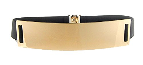 Big Gold Belt (JollyChic Women's Electroplate Gold Metal and Elastic Band Buckle Wide Waist Belt)