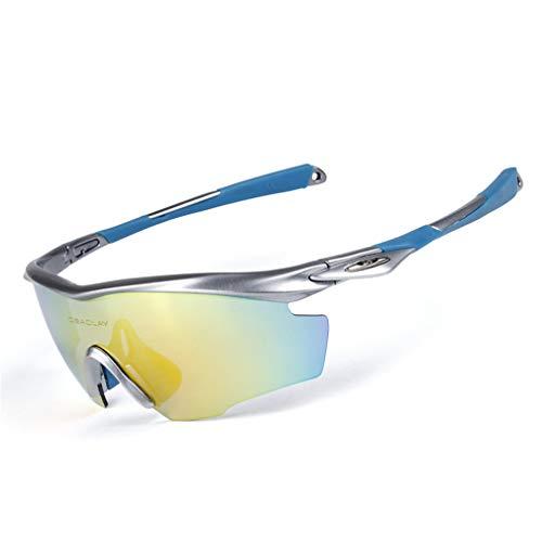 WSAJAnjei Polarized Cycling Glasses Mountain Road Riding Bike Sunglasses Outdoor Sport Bike Goggles Bicycle Eyewear 5 Lens 09 (Uv400 Sonnenbrillen)