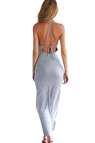 Frauen Sexy Neckholder rückenfreie Schlitz Maxi figurbetontes Abendkleid
