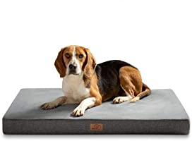 BEDSURE Orthopedic Memory Foam Dog Bed Large Waterproof Dog Crate Mattress with Soft Washable Cover, Grey
