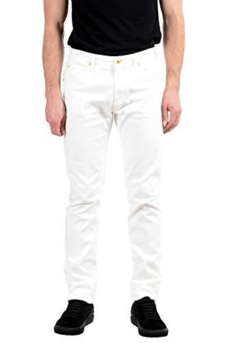 (Versace Men's White Stretch Skinny Jeans Size US 34 IT 50)