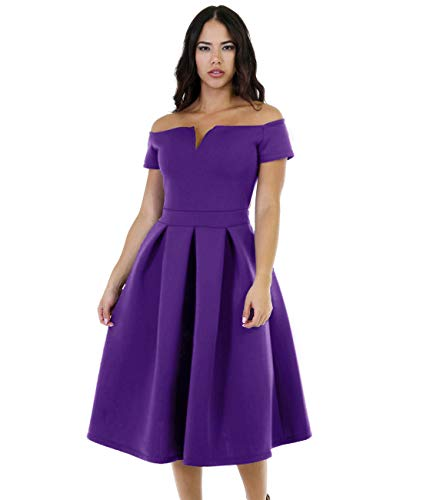 Lalagen Women's Vintage 1950s Party Cocktail Wedding Swing Midi Dress Purple XL