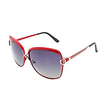 VOPOLAR Sunglasses Women Polarized Oval Lens Anti UV400 eye protection Driving with Case (Red/61mm)