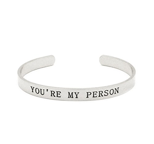 Fashion 21 Unisex You're My Person Positive Quote Message Brass Cuff Bracelet Bangle - Made in Korea (You're My Person - Silver 1 PC)
