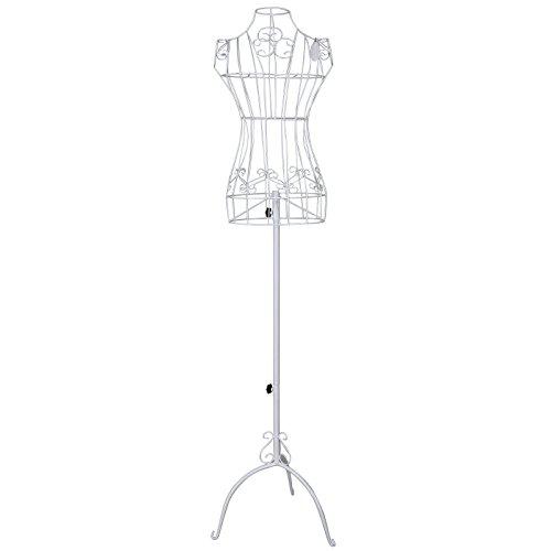 Songmics dünn Weiblich Schneiderpuppe Höhe Einstellbar ca. 112 cm - 170 cm Schaufensterpuppe aus Metall weiß HRA10W