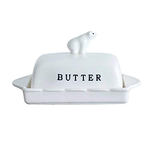Grecle Porcelain Butter Dish with Bear Lid