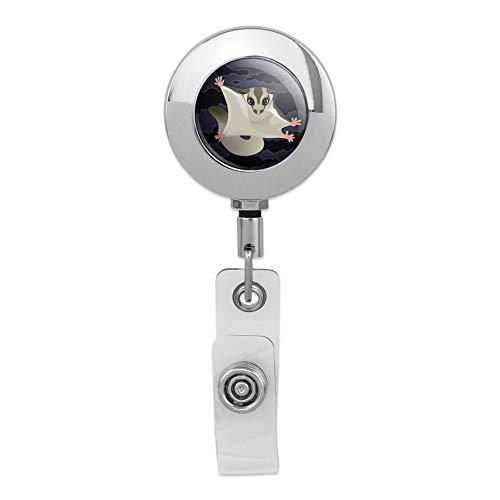 Sugar Glider of The Night Retractable Reel Premium Metal Chrome Badge ID Card Holder Clip ()