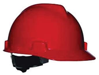 MSA Red V-Gard Class E Type I Polyethylene Slotted Hard Cap With Fas-Trac Suspension. Purchase of 3 Each