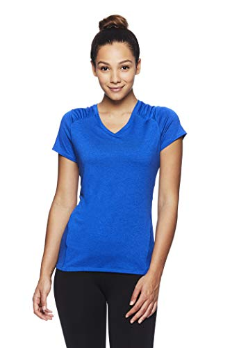 HEAD Women's Brianna Shirred Short Sleeve Workout T-Shirt - Marled Performance Crew Neck Activewear Top - Brianna Nautical Blue Heather, X-Small by HEAD (Image #1)