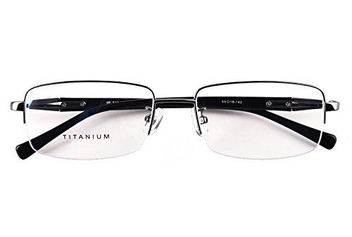 Agstum Titanium Half Rim Glasses Frame Prescription 55-18-145 (Gunmetal)