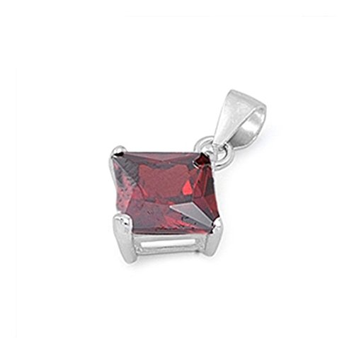 Solitaire Pendant For Necklace Princess Cut Square Simulated Red Garnet 925 Sterling Silver (Garnet Square Pendant)
